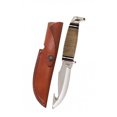 Leather Hunter Gut Hook with Leather Sheath
