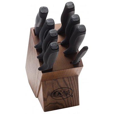Blk. Synthetic Handle 9 pc W/Wood Block